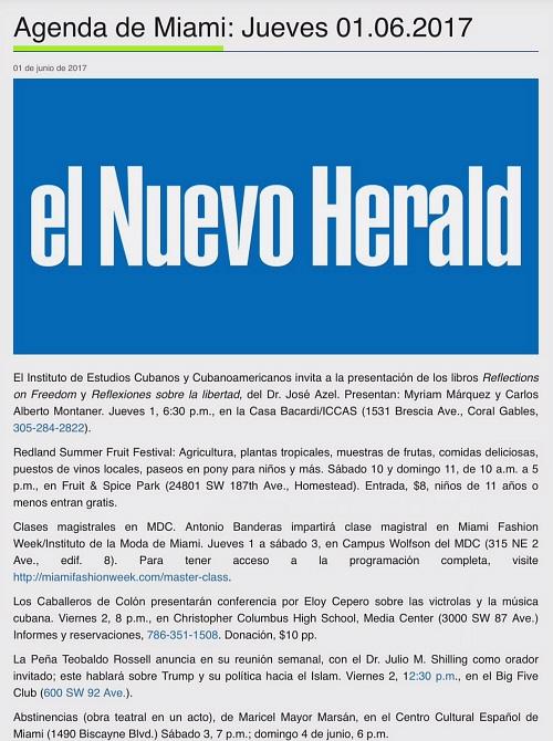Abstinencias - Miami Herald Agenda 500 X 670
