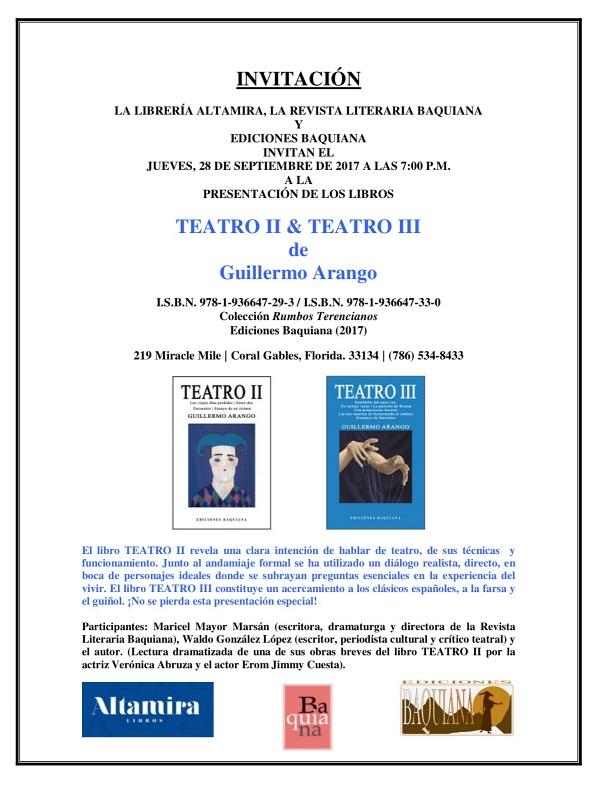INVITACIÓN - TEATRO III de Guillermo Arango - Libreria Altamira