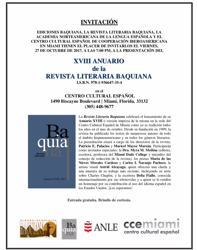 Invitación de Baquiana para el CCE 10-27-17 650X822