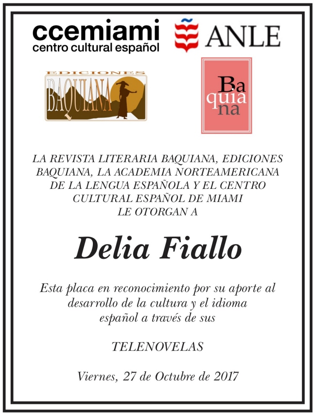 Placa de reconocimiento para Delia Fiallo 650X855