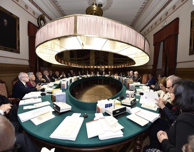 Participando en una reunión plenaria - Sede de la RAE en Madrid, España